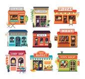 Coleção das construções de loja isoladas no fundo branco Venda das lojas cozida e produtos agrícolas, pizza, flores, livros ilustração stock