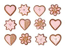 Coleção das cookies do pão-de-espécie isolada foto de stock royalty free