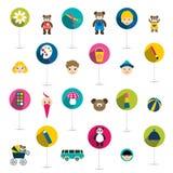 Coleção das crianças ícone liso, brinquedos. Imagem de Stock Royalty Free