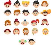 Coleção das crianças com penteados diferentes Fotografia de Stock