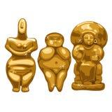 A coleção das estátuas antigas que descrevem as mulheres isoladas no fundo branco Ilustração do vetor ilustração stock