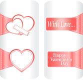 Coleção das etiquetas bonitos do coração que wedding Imagem de Stock
