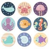 Coleção das etiquetas com os animais de mar bonitos Fotos de Stock
