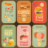 Coleção das etiquetas do alimento Foto de Stock