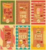 Coleção das etiquetas do fast food Imagem de Stock Royalty Free