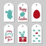 Coleção das etiquetas do presente decoradas com coelhos Imagem de Stock Royalty Free