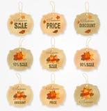 Coleção das etiquetas e dos crachás da venda do outono do vintage com folhas de outono Imagens de Stock Royalty Free