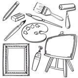 Coleção das ferramentas de desenho ilustração stock