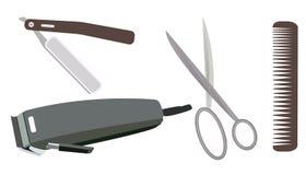 Coleção das ferramentas e dos acessórios para o cabeleireiro e o cabeleireiro, grupo da barbearia imagens de stock royalty free