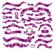 Coleção das fitas violetas Foto de Stock