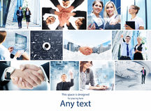 Coleção das fotos sobre o negócio com apertos de mão Fotos de Stock