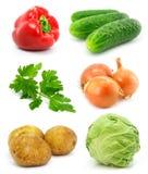 Coleção das frutas vegetais isoladas no branco fotografia de stock royalty free