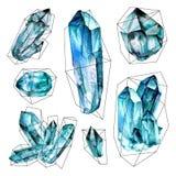 Coleção das gemas da aquarela Fotos de Stock Royalty Free