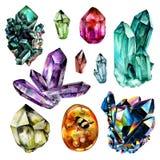 Coleção das gemas da aquarela Imagem de Stock Royalty Free