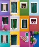 Coleção das janelas e das portas em paredes coloridas Fotografia de Stock Royalty Free