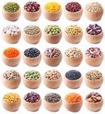 Coleção das leguminosa no branco Fotos de Stock
