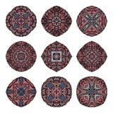Coleção das mandalas Teste padrão redondo do ornamento Elementos decorativos do vintage Fotografia de Stock