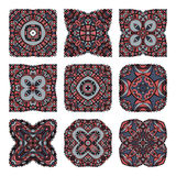 Coleção das mandalas Teste padrão redondo do ornamento Elementos decorativos do vintage Fundo tirado mão Fotografia de Stock Royalty Free