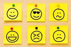 Coleção das notas de post-it dos Emoticons Fotografia de Stock