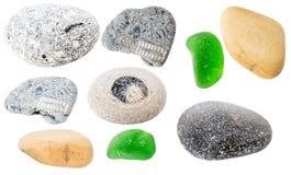 Coleção das pedras do mar isoladas no fundo branco Imagens de Stock