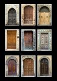 A coleção das portas isolou o preto Fotografia de Stock