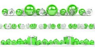 A coleção das quinquilharias do verde e do White Christmas alinhou o renderi 3D Fotos de Stock Royalty Free