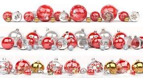 A coleção das quinquilharias do vermelho e do White Christmas alinhou a rendição 3D Fotografia de Stock Royalty Free