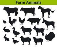 Coleção das silhuetas dos animais de exploração agrícola Foto de Stock