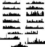 Coleção das skylines da cidade Foto de Stock