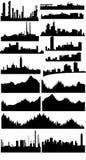 Coleção das skylines do vetor Fotos de Stock Royalty Free