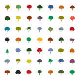 Coleção de árvores da cor Ícones do vetor ilustração royalty free