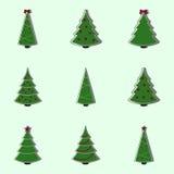 Coleção de árvores de Natal decoradas Ilustração lisa do estilo Imagem de Stock