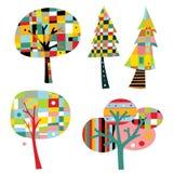 Coleção de árvores geométricas Imagem de Stock