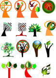 Coleção de árvores simbólicas Fotografia de Stock