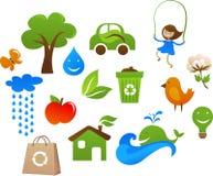 Coleção de ícones bonitos da ecologia Fotos de Stock Royalty Free