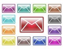 Coleção de ícones coloridos do correio Fotografia de Stock Royalty Free