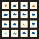 A coleção de ícones coloridos do tempo do esboço vector a ilustração Fotos de Stock