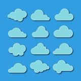 Coleção de ícones da nuvem Ilustração do vetor fotografia de stock