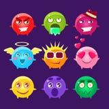 Coleção de ícones de Emoji do caráter redondo ilustração do vetor