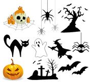 Coleção de ícones de Halloween Fotografia de Stock