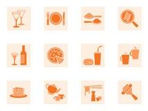 Coleção de ícones do alimento e da bebida Fotografia de Stock Royalty Free