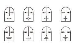 Coleção de 8 ícones do smiley em preto e branco pictogram Foto de Stock