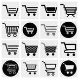 Coleção do SE dos ícones do vetor do carrinho de compras do vetor Fotos de Stock