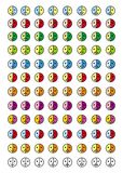 Coleção de 8 ícones dos emoticons em 12 escalas de cor smiley 96 Fotografia de Stock