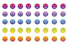 Coleção de 8 ícones dos emoticons em 5 inclinações da cor Imagens de Stock Royalty Free