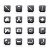 Coleção de ícones e de sinais de aviso temáticos médicos Fotografia de Stock