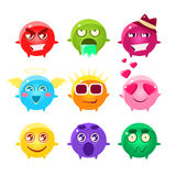 Coleção de ícones esféricos de Emoji do caráter ilustração royalty free