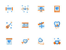 Coleção de ícones lisos de cumprimento do amor Fotos de Stock