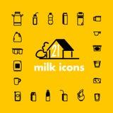 Coleção de ícones lisos do leite do vetor Foto de Stock Royalty Free