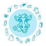 Coleção de ícones lisos do leite do vetor Imagem de Stock Royalty Free